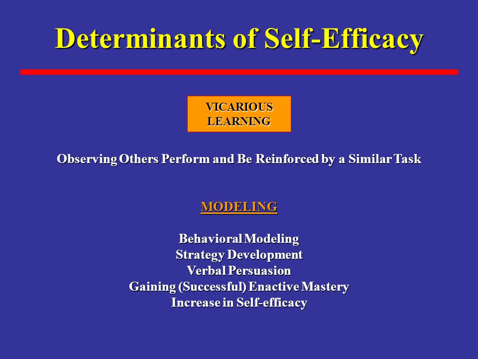 Determinants of Self-Efficacy Observing Others Perform and Be Reinforced by a Similar Task MODELING Behavioral Modeling Strategy Development Verbal Persuasion Gaining (Successful) Enactive Mastery Increase in Self-efficacy VICARIOUSLEARNING