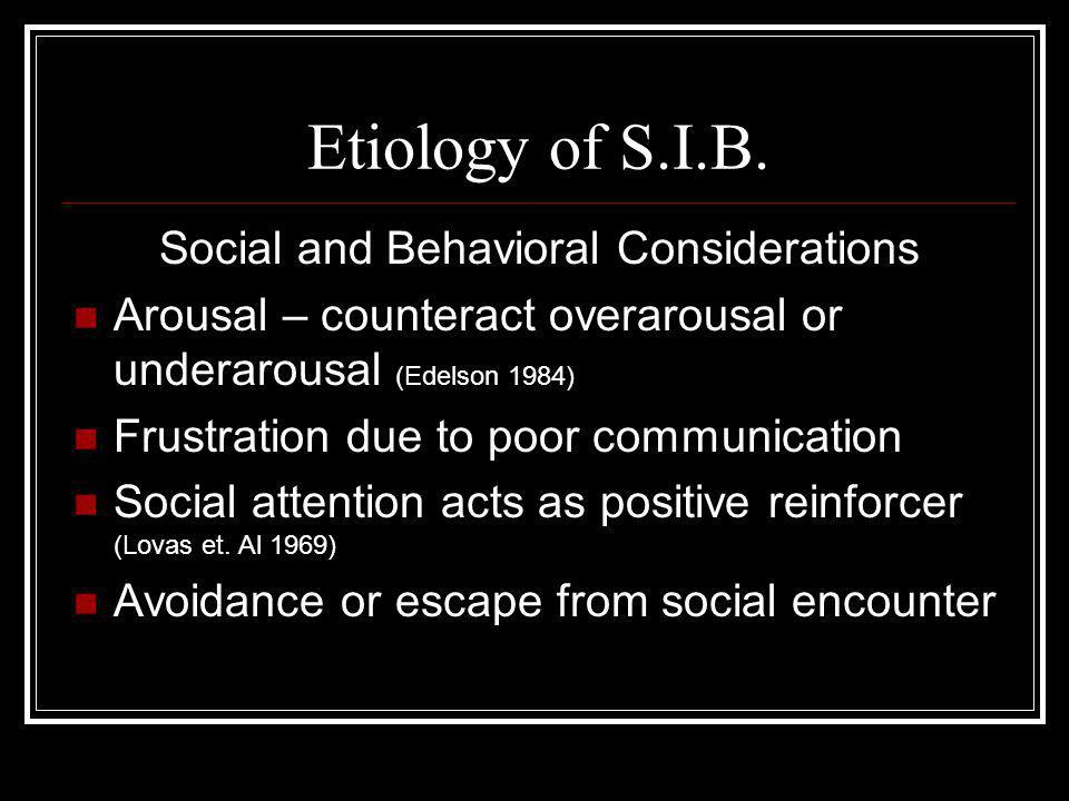 Etiology of S.I.B.