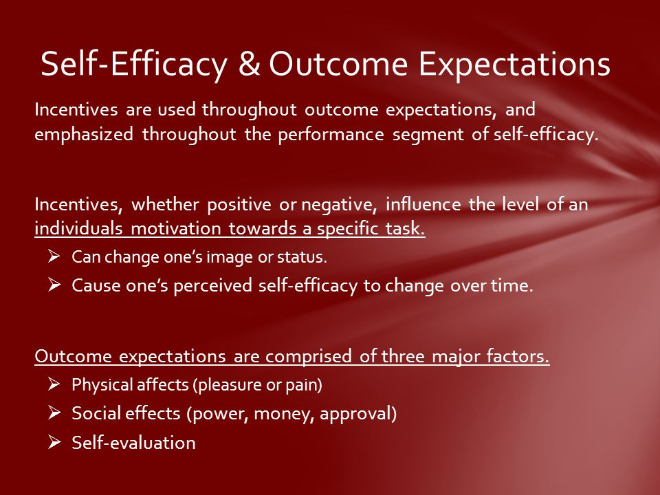Incentives are used throughout outcome expectations, and emphasized throughout the performance segment of self-efficacy.