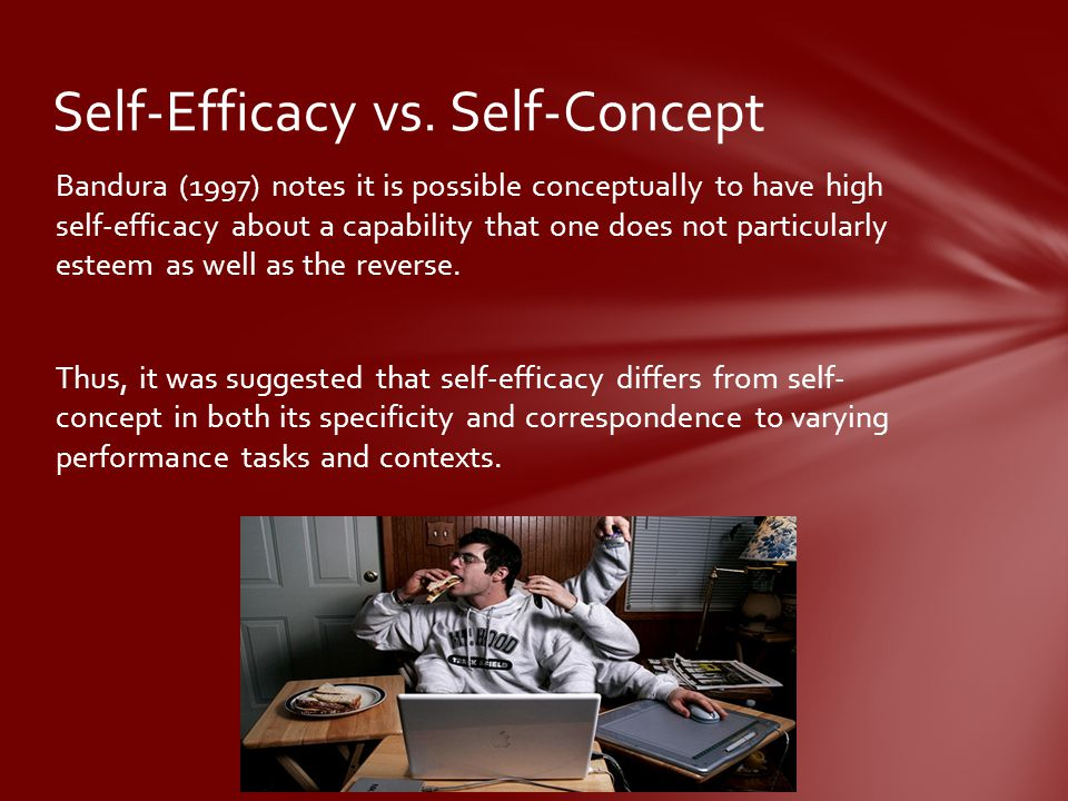 Bandura (1997) notes it is possible conceptually to have high self-efficacy about a capability that one does not particularly esteem as well as the reverse.