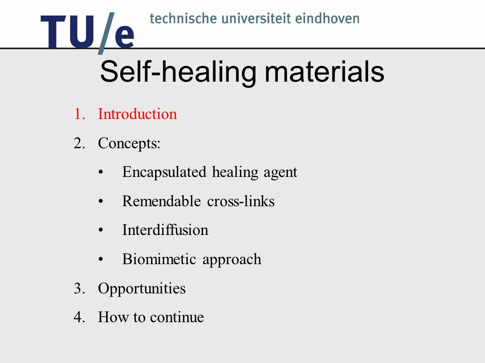 Self-healing materials 1.Introduction 2.Concepts: Encapsulated healing agent Remendable cross-links Interdiffusion Biomimetic approach 3.Opportunities 4.How to continue
