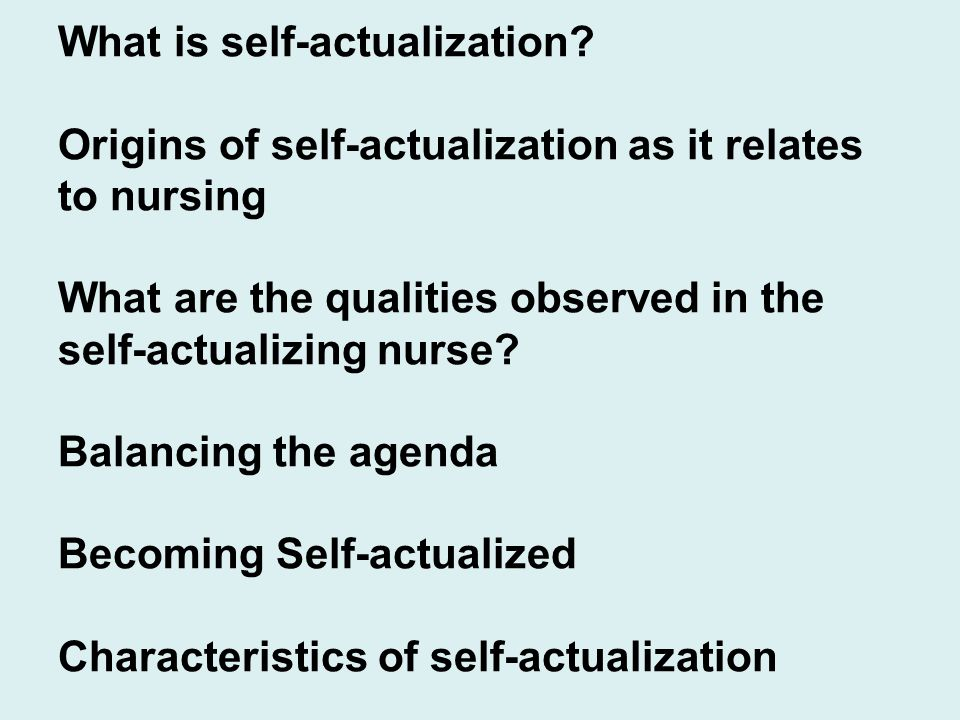 What is self-actualization.