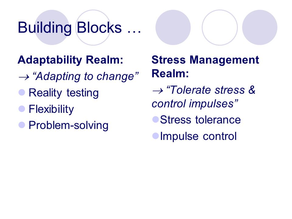 Building Blocks … Adaptability Realm:  Adapting to change Reality testing Flexibility Problem-solving Stress Management Realm:  Tolerate stress & control impulses Stress tolerance Impulse control