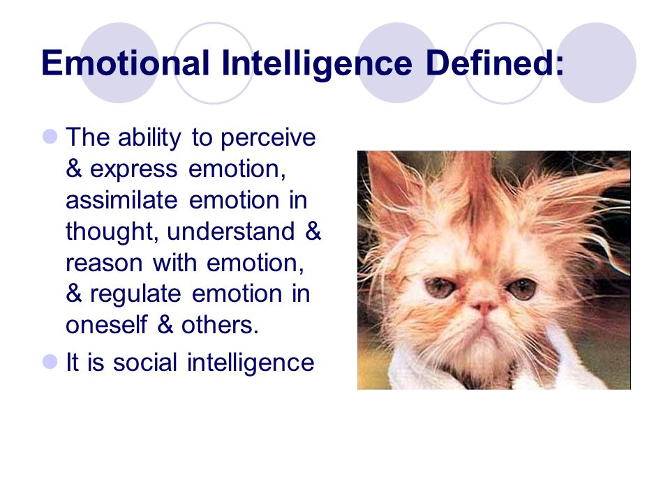 Emotional Intelligence Defined: The ability to perceive & express emotion, assimilate emotion in thought, understand & reason with emotion, & regulate emotion in oneself & others.