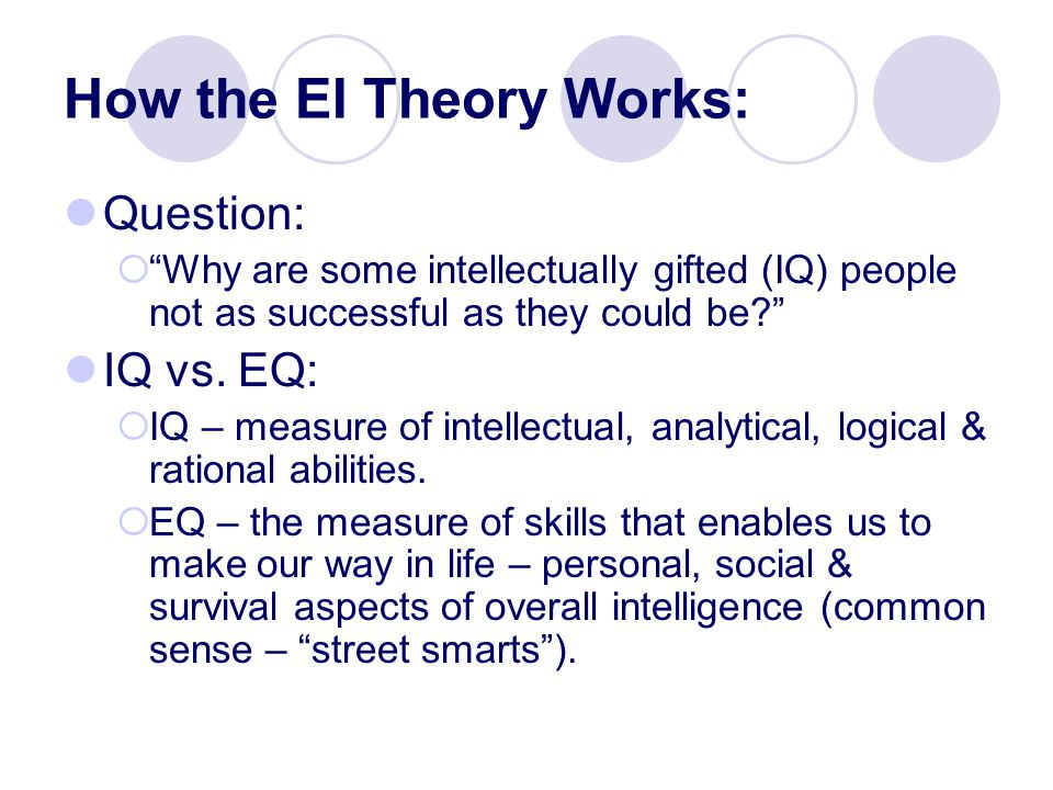 How the EI Theory Works: Question:  Why are some intellectually gifted (IQ) people not as successful as they could be IQ vs.