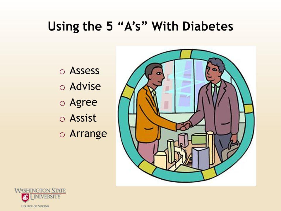 "Using the 5 ""A's"" With Diabetes o Assess o Advise o Agree o Assist o Arrange"