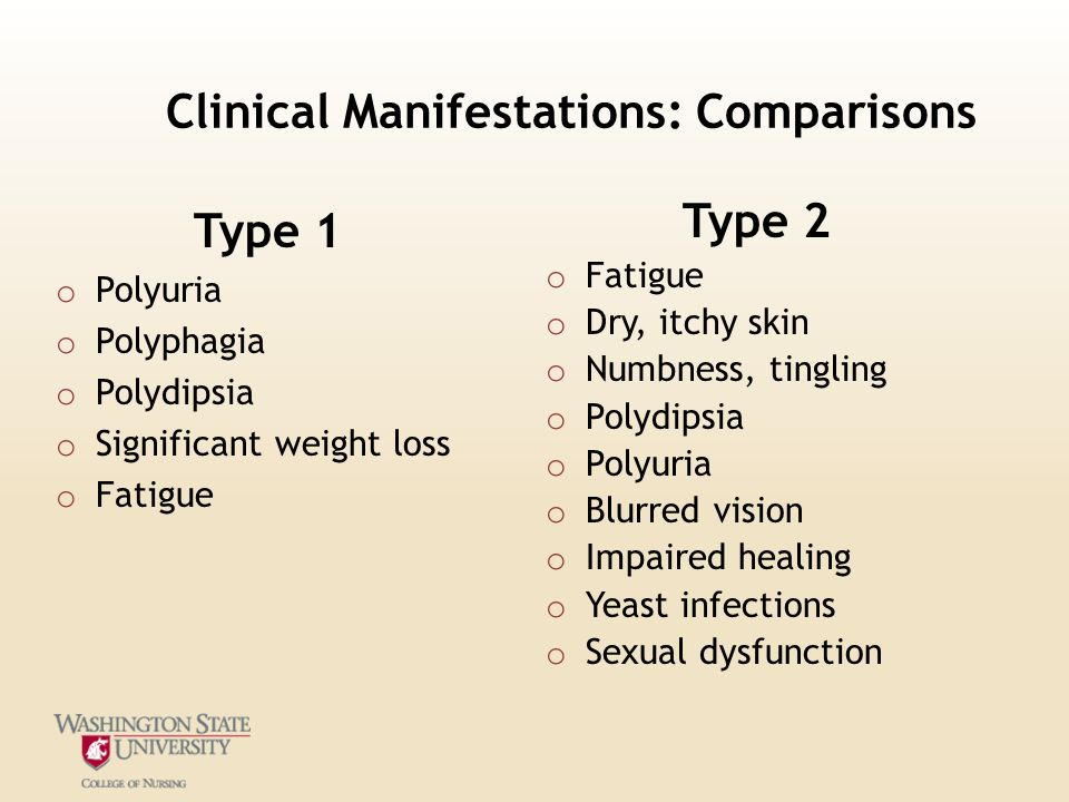 Clinical Manifestations: Comparisons Type 1 o Polyuria o Polyphagia o Polydipsia o Significant weight loss o Fatigue Type 2 o Fatigue o Dry, itchy ski