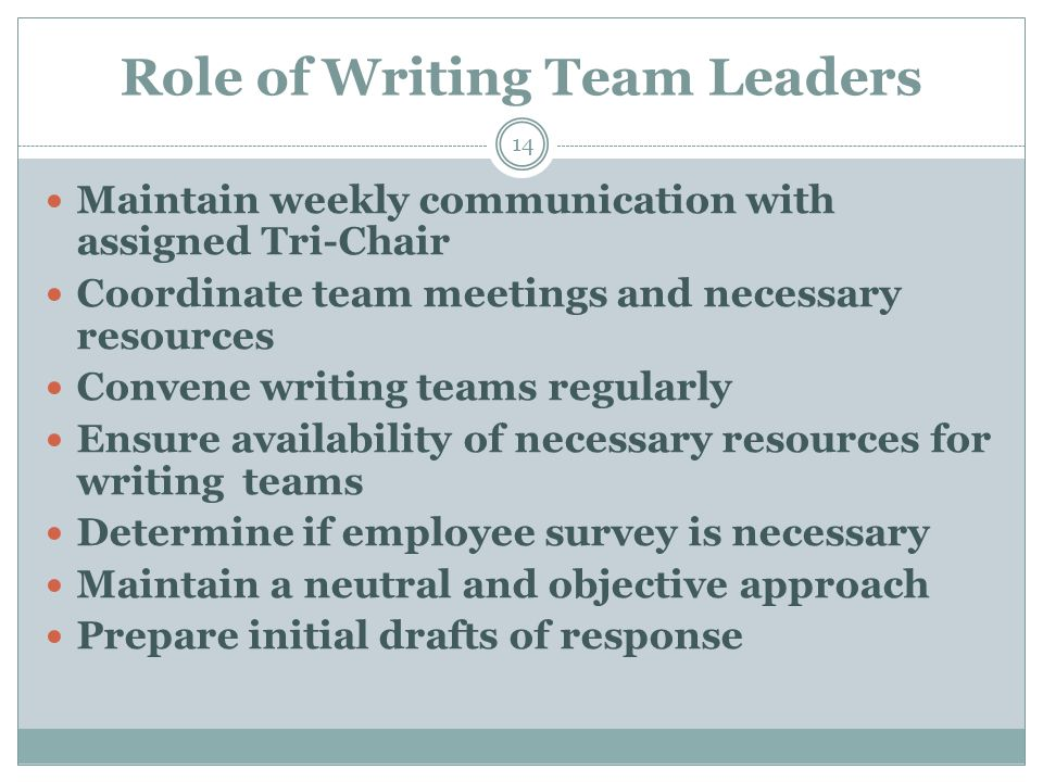 Role of Writing Team Leaders 14 Maintain weekly communication with assigned Tri-Chair Coordinate team meetings and necessary resources Convene writing teams regularly Ensure availability of necessary resources for writing teams Determine if employee survey is necessary Maintain a neutral and objective approach Prepare initial drafts of response