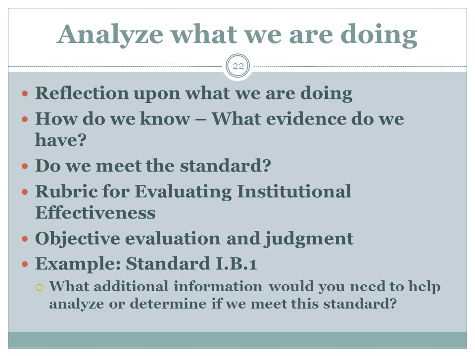 Analyze what we are doing 22 Reflection upon what we are doing How do we know – What evidence do we have.