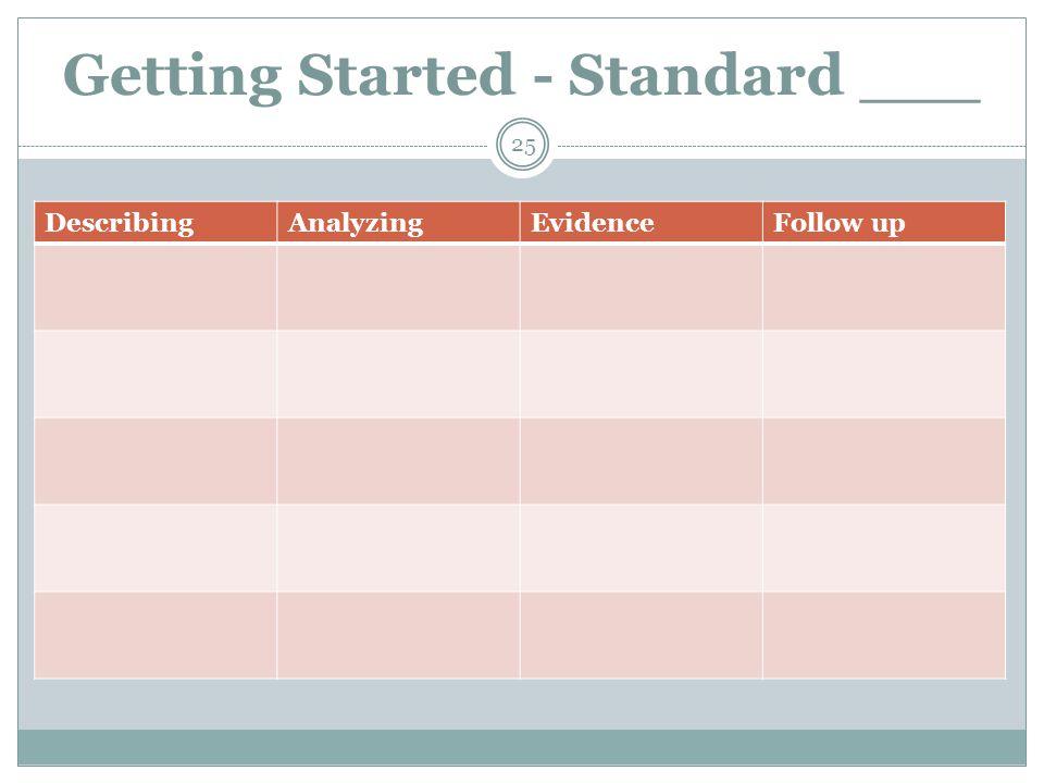 Getting Started - Standard ___ 25 DescribingAnalyzingEvidenceFollow up