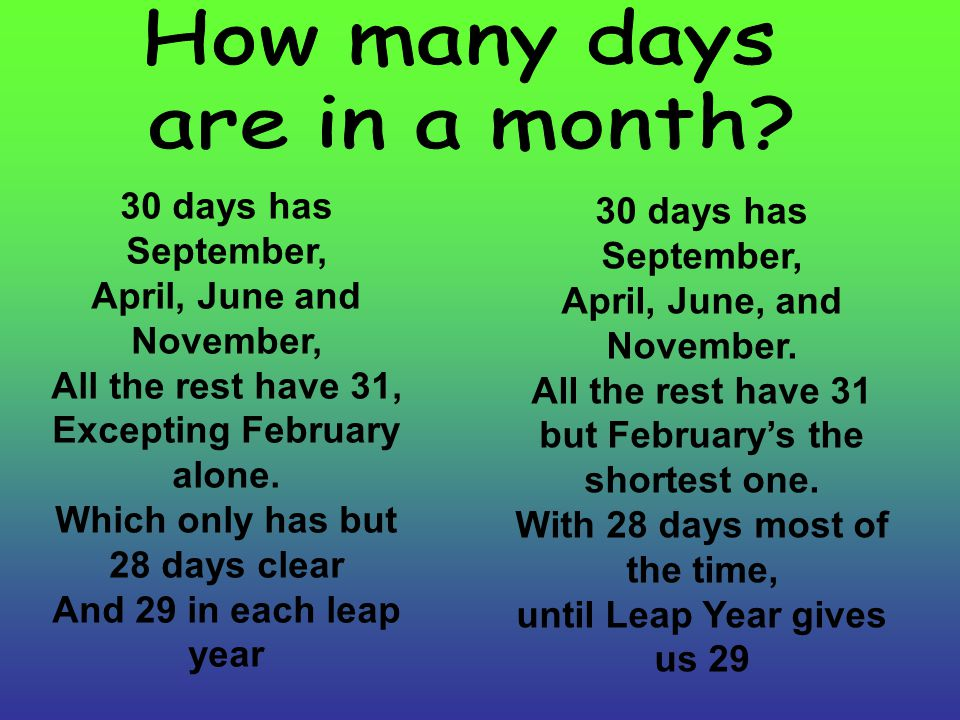 30 days has September, April, June and November, All the rest have 31, Excepting February alone. Which only has but 28 days clear And 29 in each leap