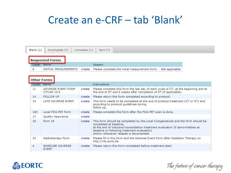 Create an e-CRF – tab 'Blank'