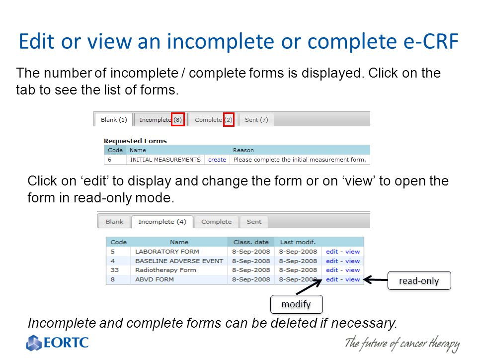 The number of incomplete / complete forms is displayed.