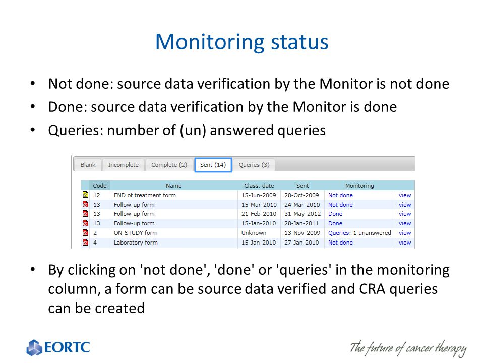 Monitoring status Not done: source data verification by the Monitor is not done Done: source data verification by the Monitor is done Queries: number of (un) answered queries By clicking on not done , done or queries in the monitoring column, a form can be source data verified and CRA queries can be created