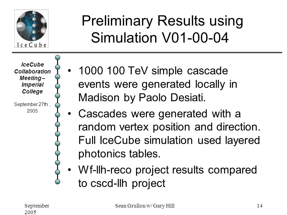 IceCube Collaboration Meeting – Imperial College September 27th, 2005 September 2005 Sean Grullon w/ Gary Hill14 Preliminary Results using Simulation