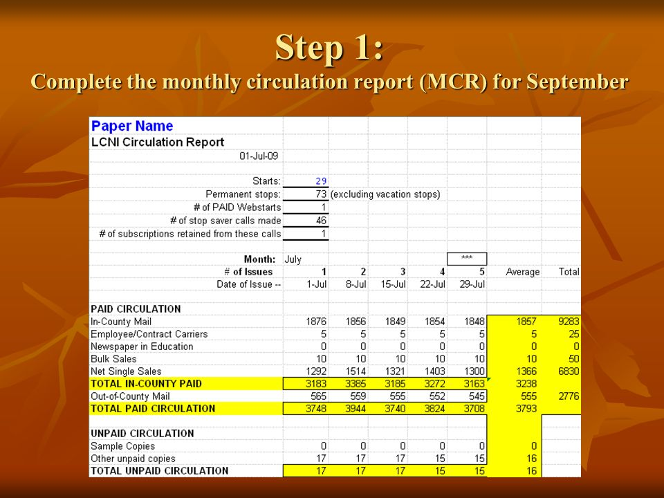 Step 1: Complete the monthly circulation report (MCR) for September