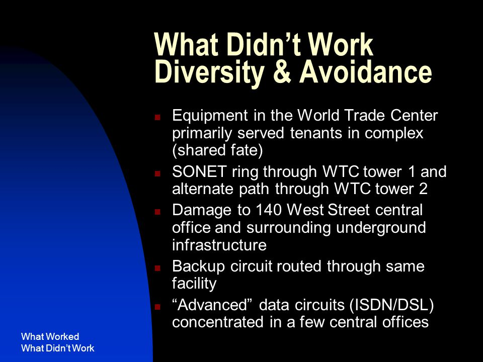 What Worked What Didn't Work What Didn't Work Diversity & Avoidance Equipment in the World Trade Center primarily served tenants in complex (shared fate) SONET ring through WTC tower 1 and alternate path through WTC tower 2 Damage to 140 West Street central office and surrounding underground infrastructure Backup circuit routed through same facility Advanced data circuits (ISDN/DSL) concentrated in a few central offices