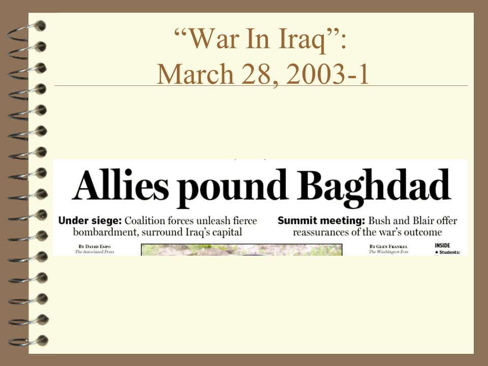 War In Iraq : March 28,