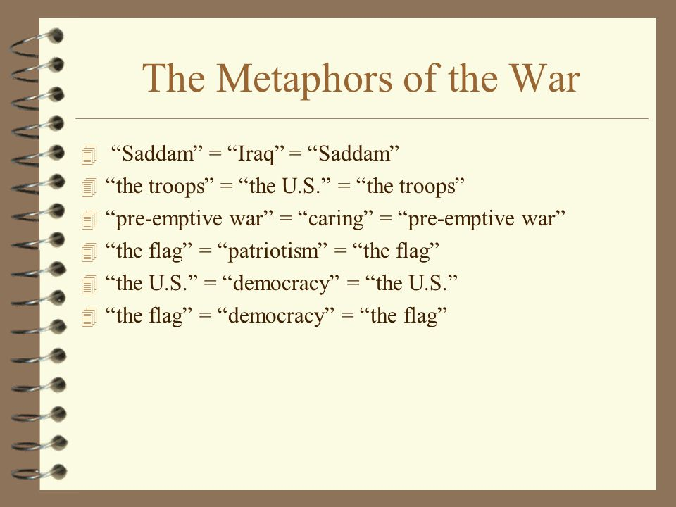 The Metaphors of the War 4 Saddam = Iraq = Saddam 4 the troops = the U.S. = the troops 4 pre-emptive war = caring = pre-emptive war 4 the flag = patriotism = the flag 4 the U.S. = democracy = the U.S. 4 the flag = democracy = the flag
