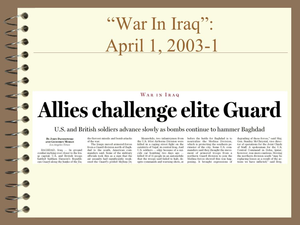 War In Iraq : April 1,