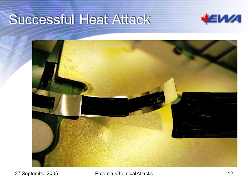27 September 2005Potential Chemical Attacks12 Successful Heat Attack