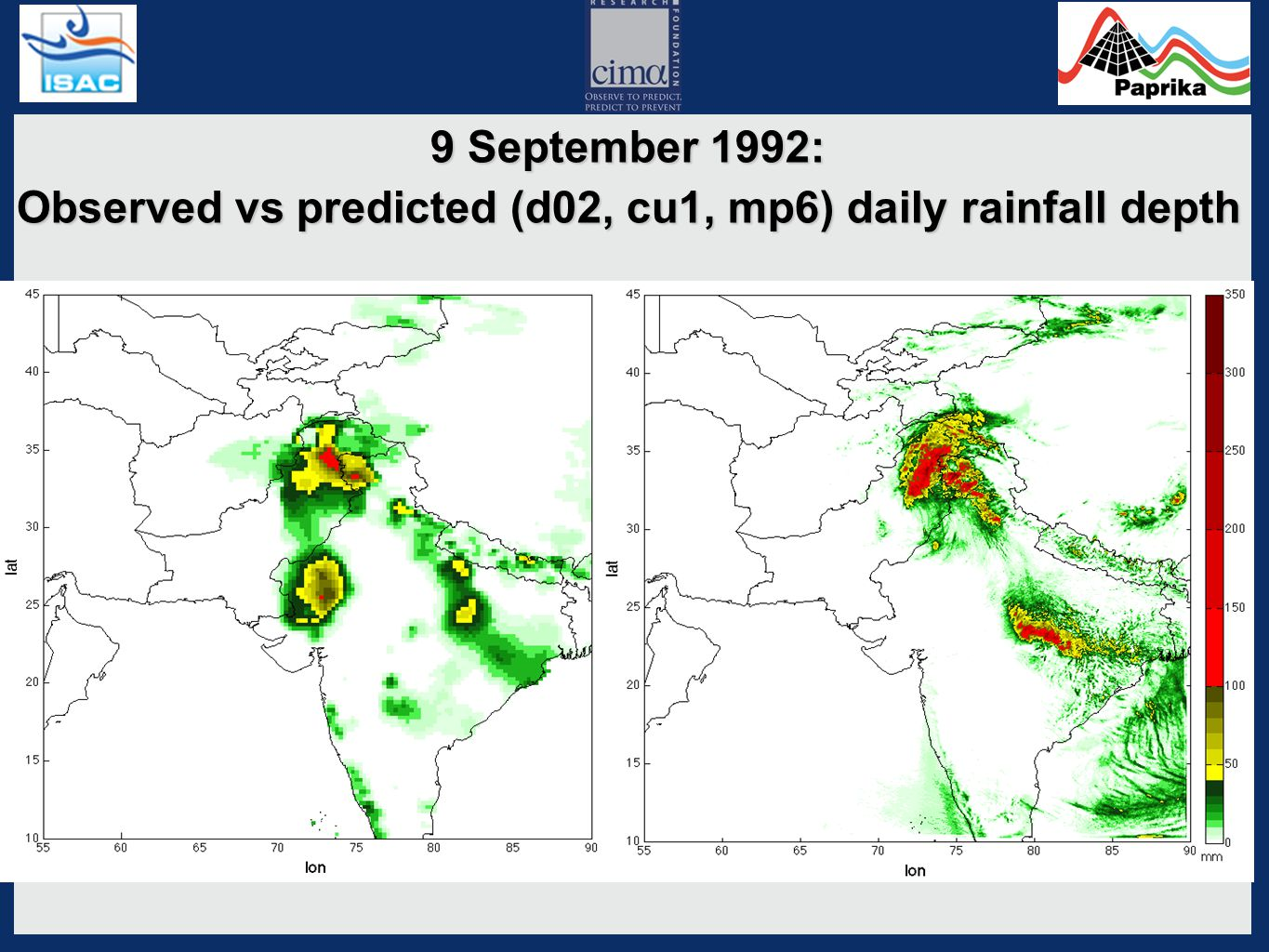 9 September 1992: Observed vs predicted (d02, cu2, mp6) daily rainfall depth