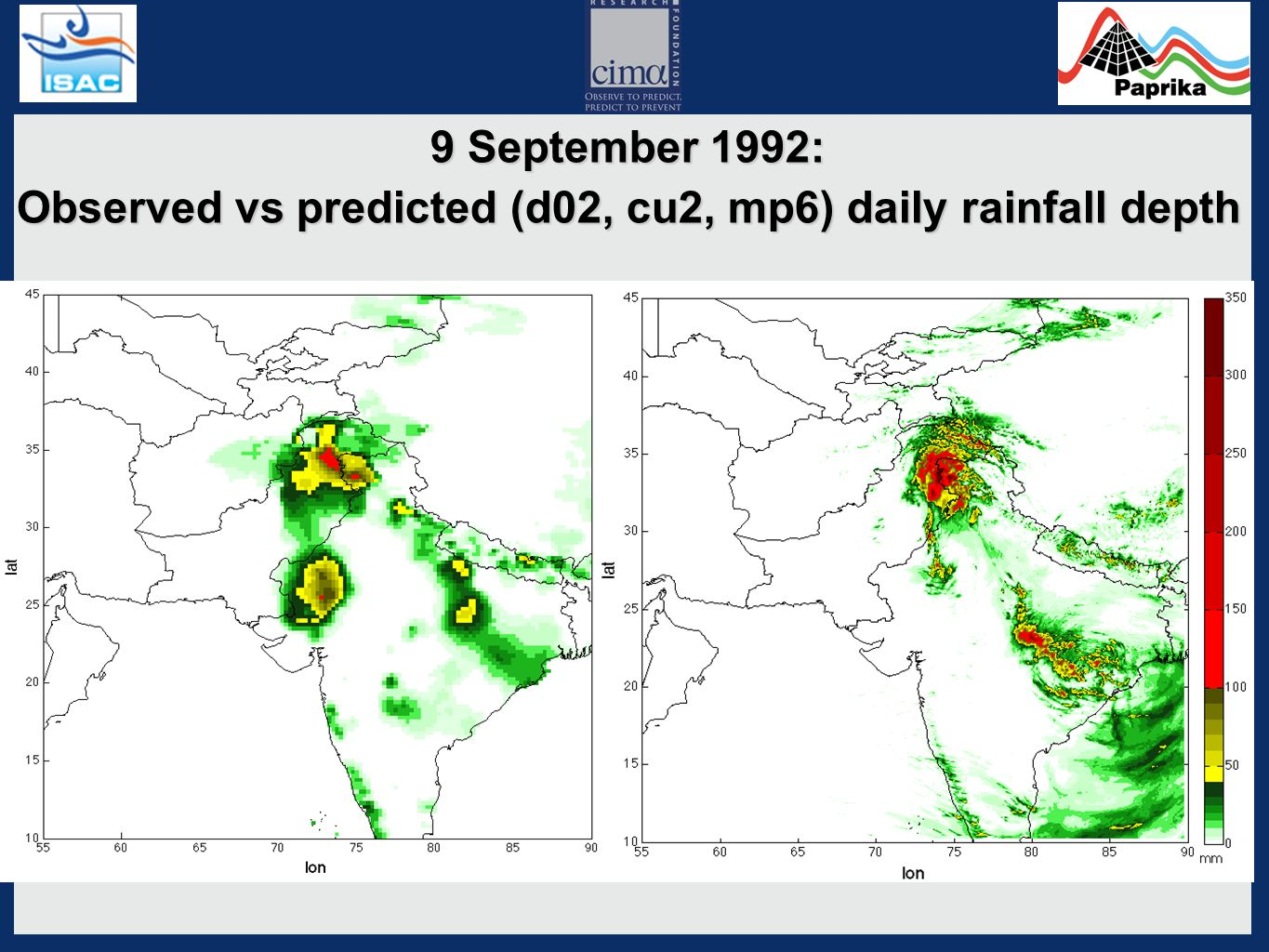 9 September 1992: Observed vs predicted (d02, cu1, mp8) daily rainfall depth