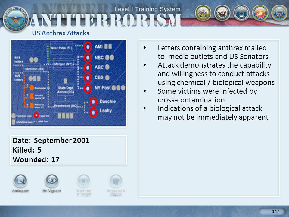 US Anthrax Attacks Letters containing anthrax mailed to media outlets and US Senators Attack demonstrates the capability and willingness to conduct attacks using chemical / biological weapons Some victims were infected by cross-contamination Indications of a biological attack may not be immediately apparent Date: September 2001 Killed: 5 Wounded: 17 147