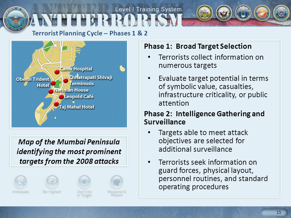 Terrorist Planning Cycle – Phases 1 & 2 15 Phase 1: Broad Target Selection Terrorists collect information on numerous targets Evaluate target potential in terms of symbolic value, casualties, infrastructure criticality, or public attention Phase 2: Intelligence Gathering and Surveillance Targets able to meet attack objectives are selected for additional surveillance Terrorists seek information on guard forces, physical layout, personnel routines, and standard operating procedures Map of the Mumbai Peninsula identifying the most prominent targets from the 2008 attacks