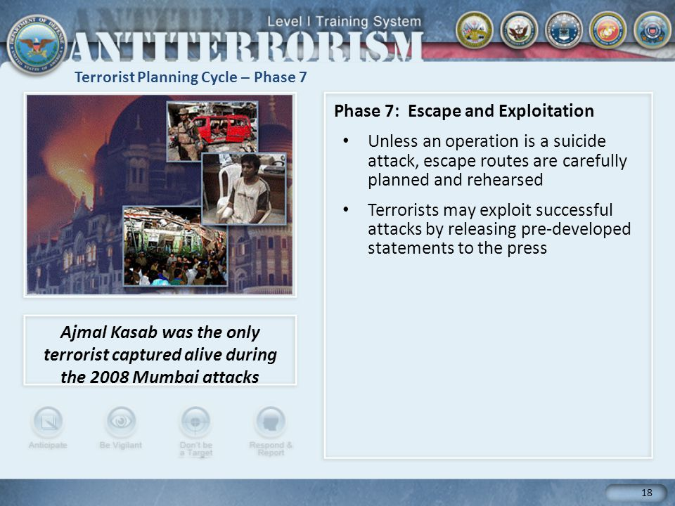 Terrorist Planning Cycle – Phase 7 18 Phase 7: Escape and Exploitation Unless an operation is a suicide attack, escape routes are carefully planned and rehearsed Terrorists may exploit successful attacks by releasing pre-developed statements to the press Ajmal Kasab was the only terrorist captured alive during the 2008 Mumbai attacks