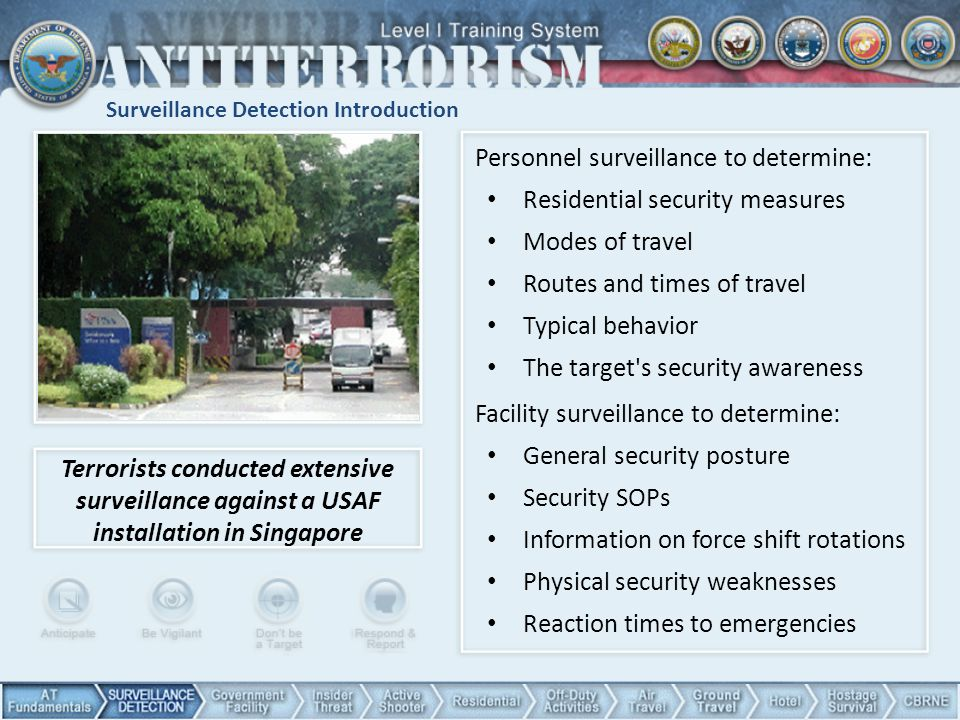 Surveillance Detection Introduction Terrorists conducted extensive surveillance against a USAF installation in Singapore Personnel surveillance to det