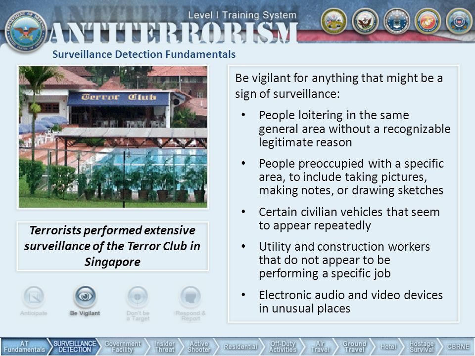 Surveillance Detection Fundamentals Terrorists performed extensive surveillance of the Terror Club in Singapore Be vigilant for anything that might be