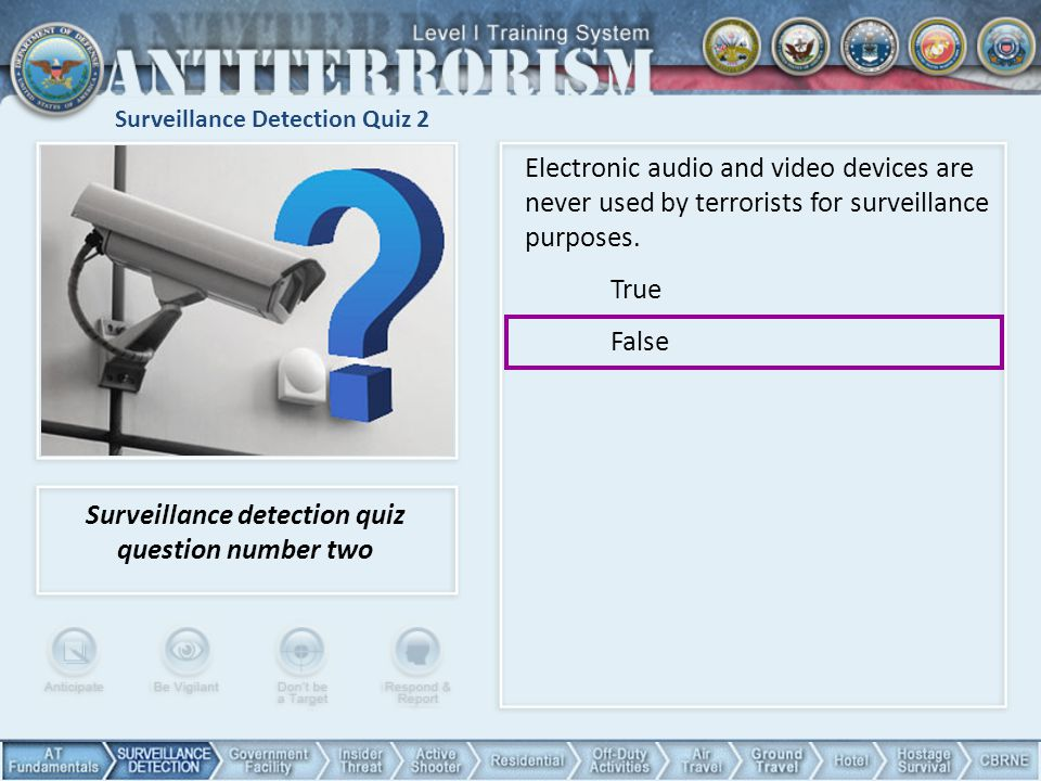 Surveillance Detection Quiz 2 Surveillance detection quiz question number two Electronic audio and video devices are never used by terrorists for surveillance purposes.