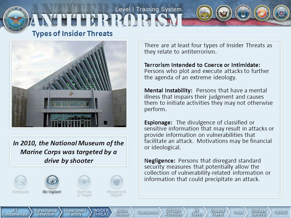 Types of Insider Threats There are at least four types of Insider Threats as they relate to antiterrorism. Terrorism Intended to Coerce or Intimidate: