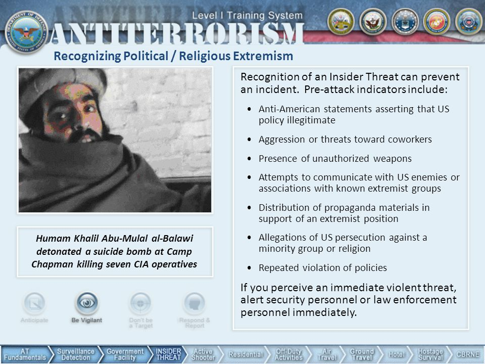 Recognizing Political / Religious Extremism Recognition of an Insider Threat can prevent an incident. Pre-attack indicators include: Anti-American sta