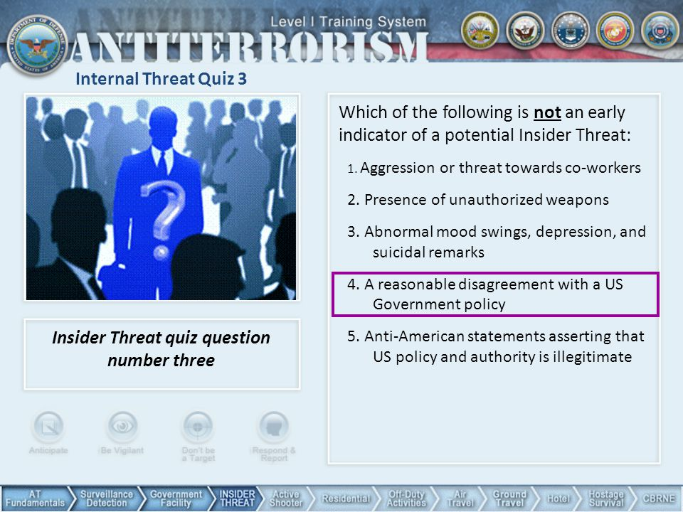 Internal Threat Quiz 3 Which of the following is not an early indicator of a potential Insider Threat: 1.