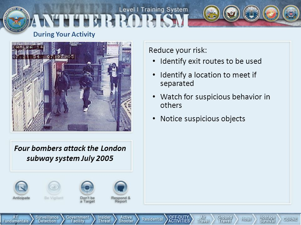During Your Activity Four bombers attack the London subway system July 2005 Reduce your risk: Identify exit routes to be used Identify a location to meet if separated Watch for suspicious behavior in others Notice suspicious objects 81