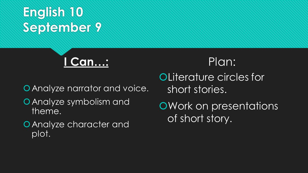 English 10 September 9 I Can…:  Analyze narrator and voice.