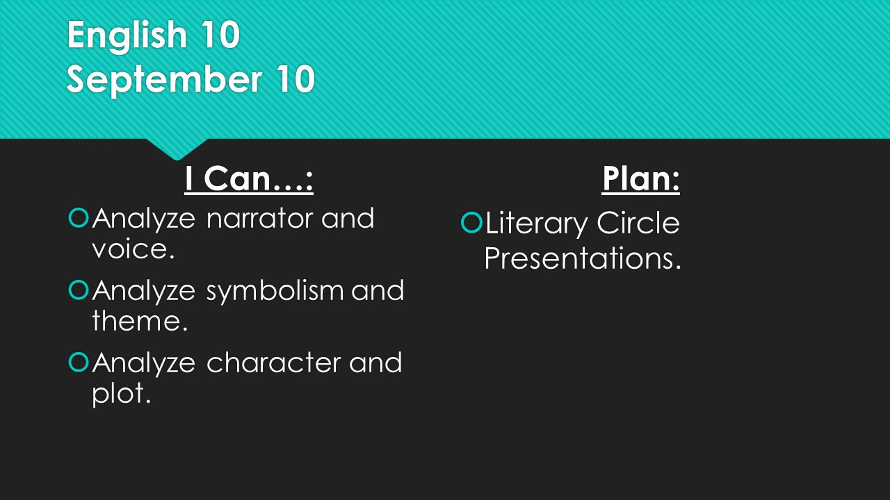 English 10 September 10 I Can…:  Analyze narrator and voice.