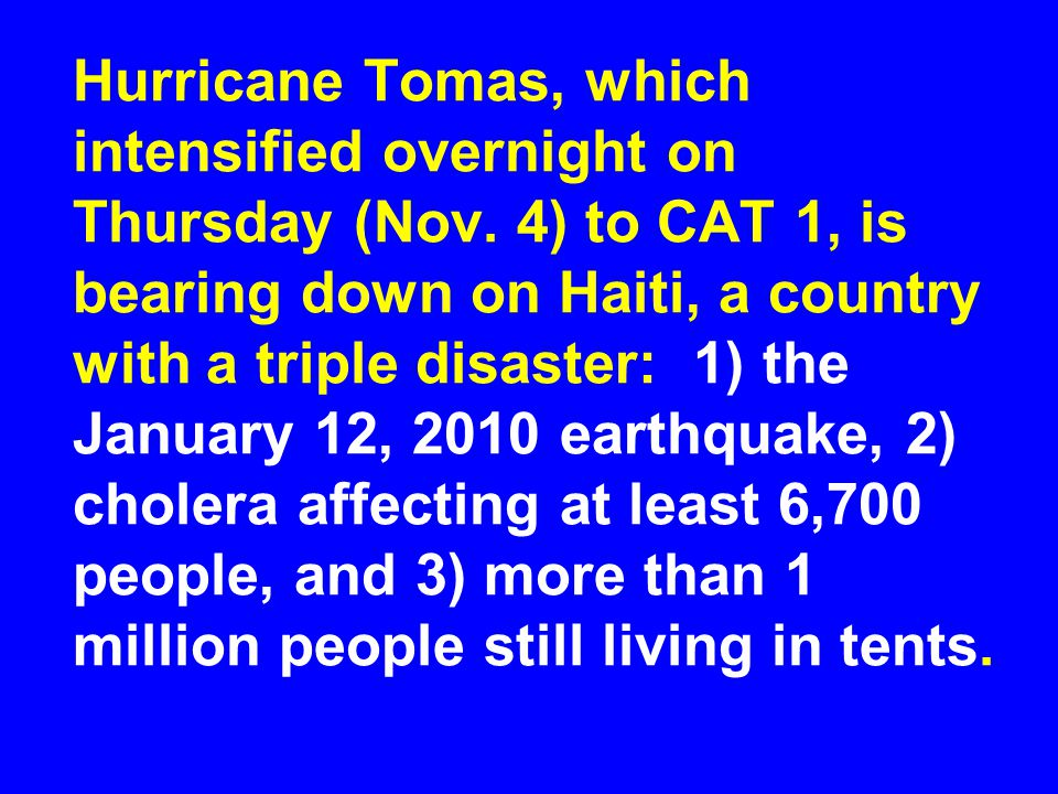 Hurricane Tomas, which intensified overnight on Thursday (Nov.