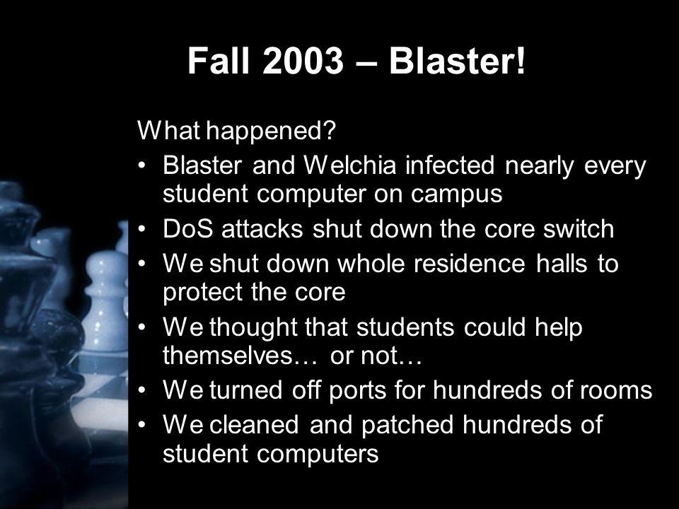 Fall 2003 – Blaster. What happened.