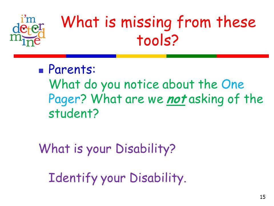 What is missing from these tools. Parents: What do you notice about the One Pager.