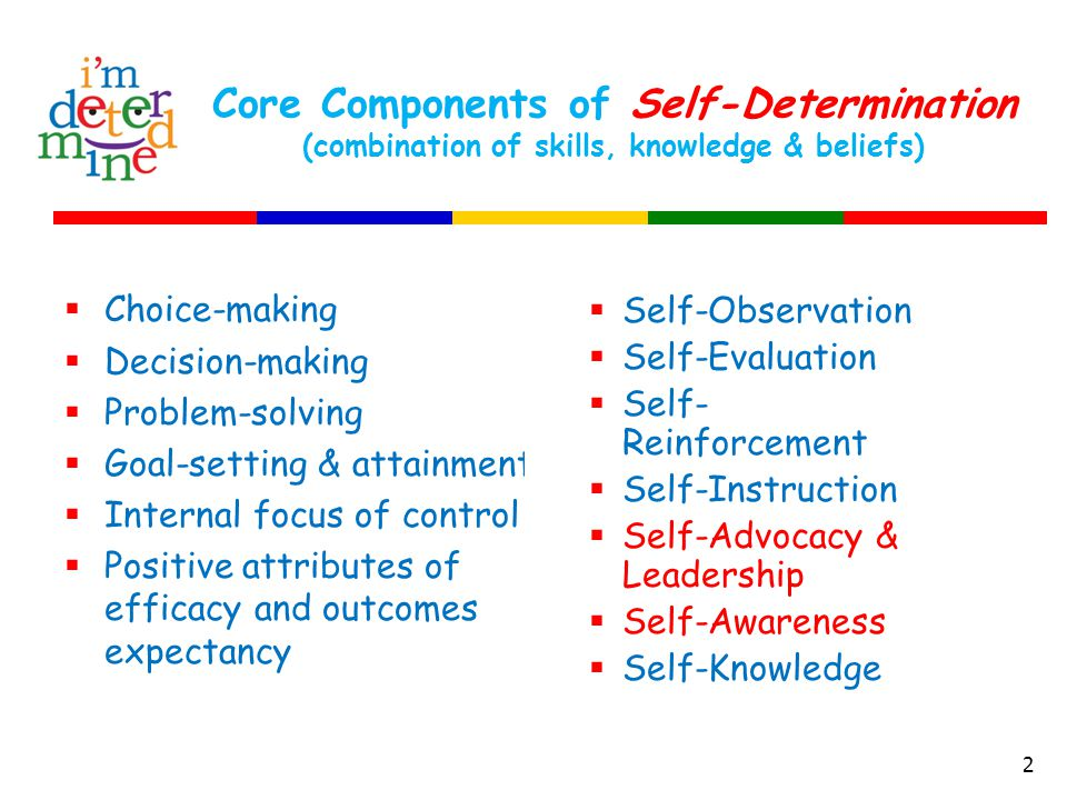 Core Components of Self-Determination (combination of skills, knowledge & beliefs)  Choice-making  Decision-making  Problem-solving  Goal-setting & attainment  Internal focus of control  Positive attributes of efficacy and outcomes expectancy  Self-Observation  Self-Evaluation  Self- Reinforcement  Self-Instruction  Self-Advocacy & Leadership  Self-Awareness  Self-Knowledge 2
