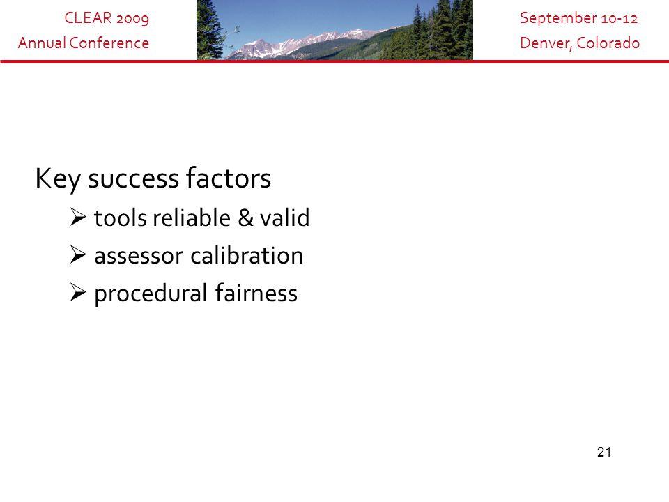 CLEAR 2009 Annual Conference September 10-12 Denver, Colorado 21 Key success factors  tools reliable & valid  assessor calibration  procedural fairness