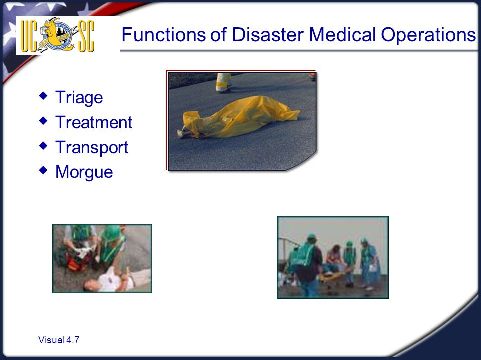 Visual 4.7 Functions of Disaster Medical Operations  Triage  Treatment  Transport  Morgue