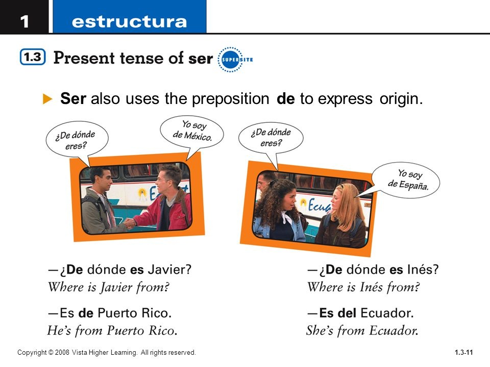 Copyright © 2008 Vista Higher Learning. All rights reserved.1.3-11  Ser also uses the preposition de to express origin.