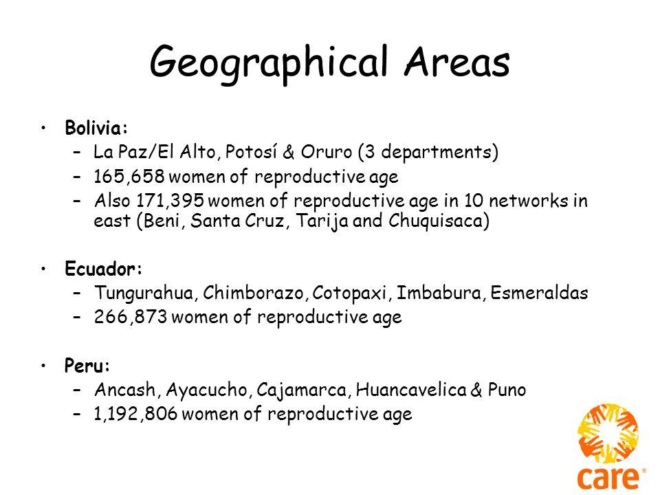 Geographical Areas Bolivia: –La Paz/El Alto, Potosí & Oruro (3 departments) –165,658 women of reproductive age –Also 171,395 women of reproductive age in 10 networks in east (Beni, Santa Cruz, Tarija and Chuquisaca) Ecuador: –Tungurahua, Chimborazo, Cotopaxi, Imbabura, Esmeraldas –266,873 women of reproductive age Peru: –Ancash, Ayacucho, Cajamarca, Huancavelica & Puno –1,192,806 women of reproductive age