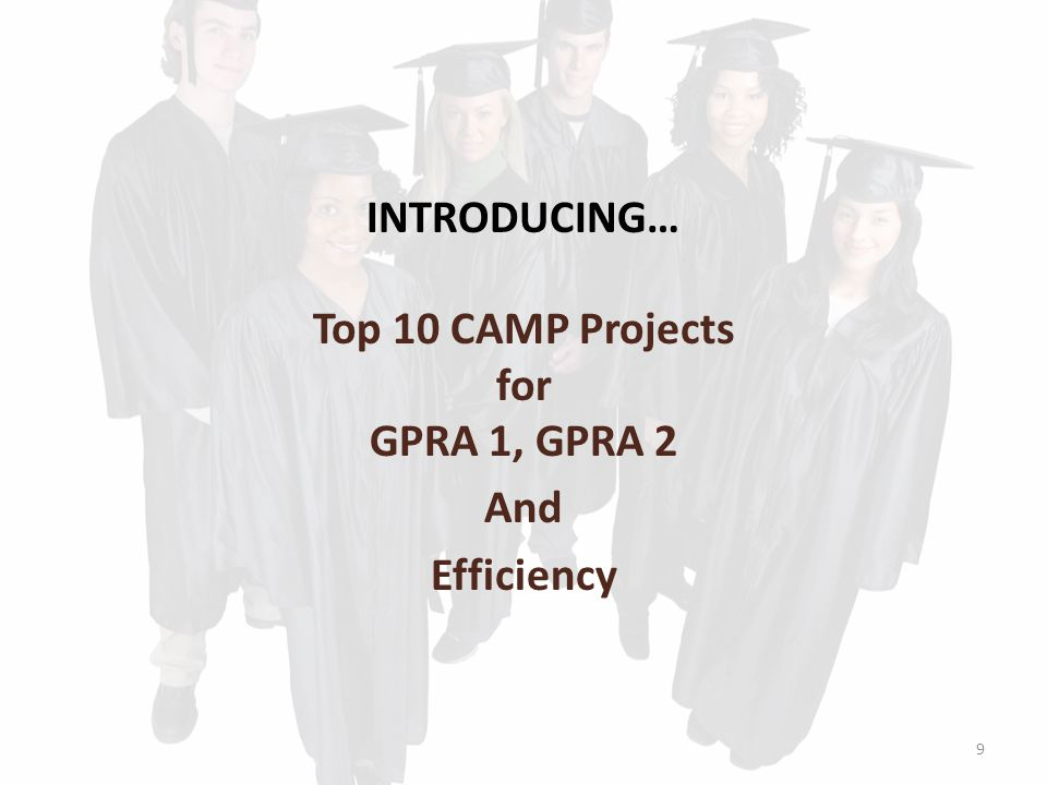 INTRODUCING… Top 10 CAMP Projects for GPRA 1, GPRA 2 And Efficiency 9
