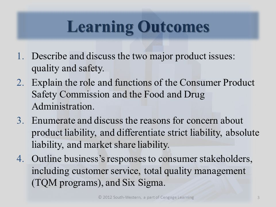 Business' Response to Consumers 24 © 2012 South-Western, a part of Cengage Learning
