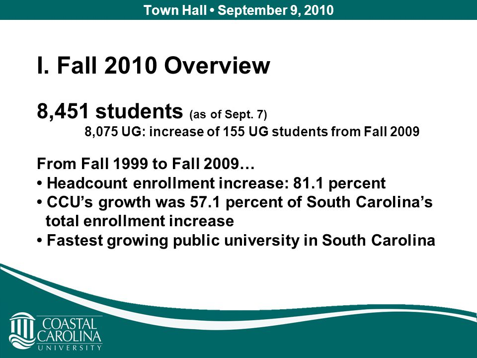 Town Hall September 9, 2010 I. Fall 2010 Overview 8,451 students (as of Sept.